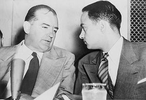 joe mccarthy and roy cohn at Army-McCarthy hearings (wiki commons)